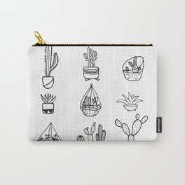 Minimalist Cacti Collection Black and White Carry-All Pouch