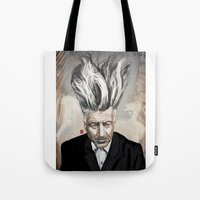 david lynch Tote Bags featuring David Lynch by Khasis Lieb