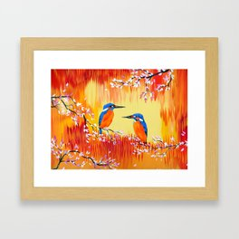Kingfishers with red, orange and yellow Framed Art Print