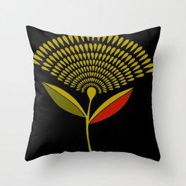 Mid Century Modern Dandelion Seed Head In Aspen Gold Throw Pillow