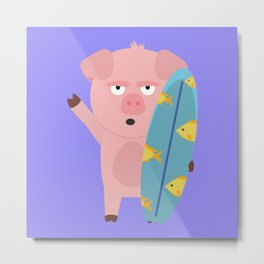 Surfin Pig with Surfboard Bahqt Metal Print