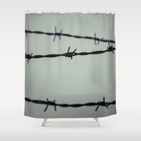 the wire Shower Curtains featuring Barbed Wire by Maria Heyens
