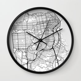 Scandinavian map of San Francisco Penninsula Wall Clock