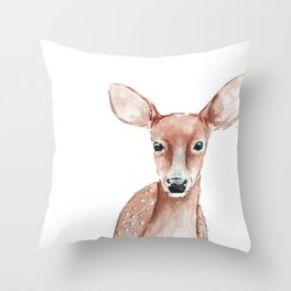 Deer Fawn Watercolor painting Throw Pillow
