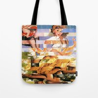 xena Tote Bags featuring Glitch Pin-Up Redux: Xena by Wayne Edson Bryan