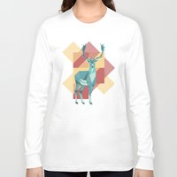 origami Long Sleeve T-shirts featuring Origami Deer by Minette Wasserman