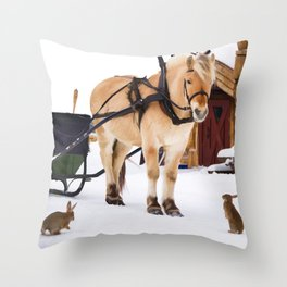 Christmas at the farm with animals Throw Pillow