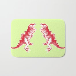Dino Pop Art - T-Rex - Lime & Red Bath Mat