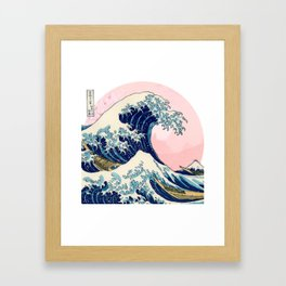 The Great Wave off Kanagawa by Hokusai in pink Framed Art Print