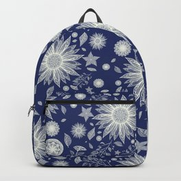 Beautiful Flowers in Navy Vintage Floral Design Backpack