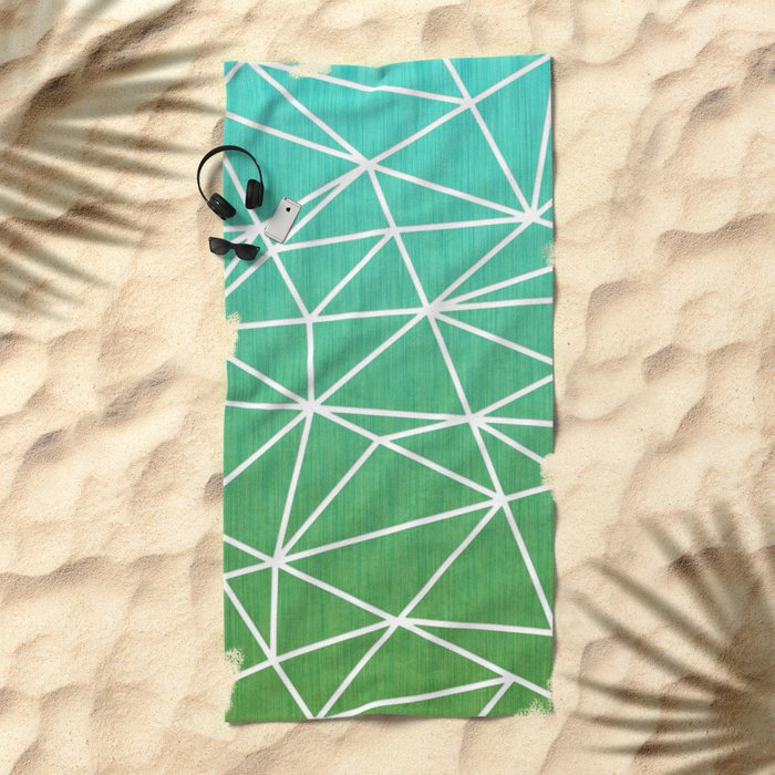 Abstract geometric | green & turquoise Beach Towel