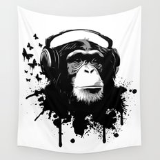 Monkey Business - White Wall Tapestry