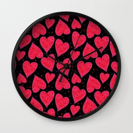 Valentine Hearts Black Background Wall Clock