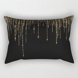 Luxury Chic Black Gold Sparkly Glitter Fringe Rectangular Pillow