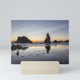 Children Playing at Sunset on Bandon Beach Mini Art Print