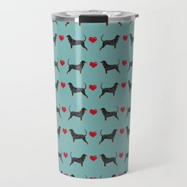 Coonhound love hearts valentines day cute dog breed gifts for coonhounds Travel Mug