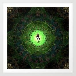 Green Tara Mantra- Protection from dangers and suffering Art Print
