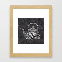 Teapot on chalkboard Framed Art Print