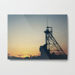 Butte Gallows Frame Under The Stars Metal Print