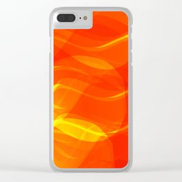 Theme of fire for the banner. Bright red and orange glare on a gentle background for a fabric or pos Clear iPhone Case