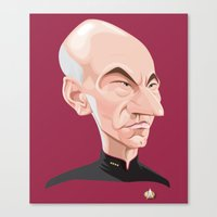 picard Canvas Prints featuring Captain Jean-Luc Picard by Greene Graphics
