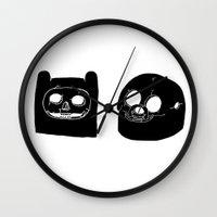 finn and jake Wall Clocks featuring Jake And Finn  by Matty Stone