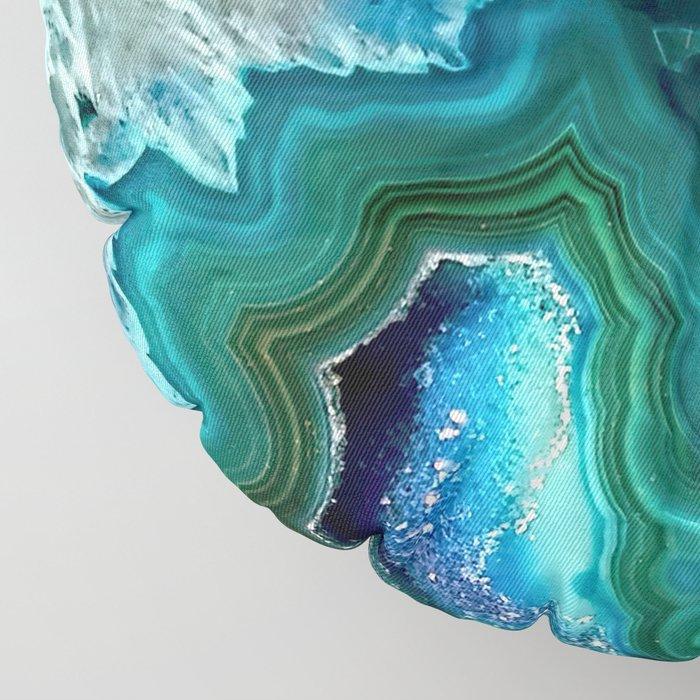 Aqua turquoise agate mineral gem stone Floor Pillow