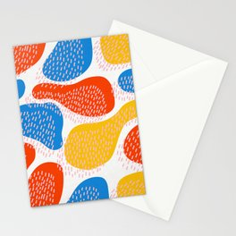 Abstract Orange, Blue & Yellow Memphis Pattern Stationery Cards
