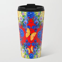 BLACK YELLOW GARDEN BLUE  FLOWERS YELLOW BUTTERFLIES Travel Mug
