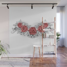 Dotwork Red Roses Tattoo Wall Mural