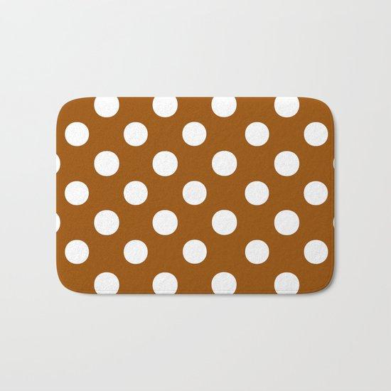 Polka Dots (White/Brown) Bath Mat