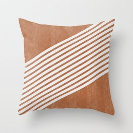 Mid Century Minimal Abstract Lines Right Throw Pillow