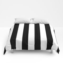 Simply Vertical Stripes in Midnight Black Comforters