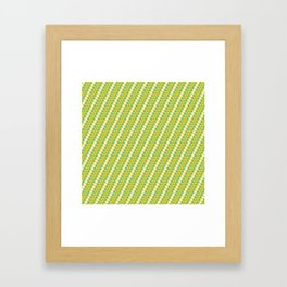 Geometrical green yellow white triangles stripes pattern Framed Art Print