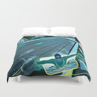 swimming Duvet Covers featuring Swimming by Robin Curtiss