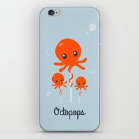 octopus iPhone & iPod Skins featuring Octopus by Jane Mathieu