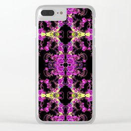 Purple & Black Tropical Orchids Extravaganza Art Clear iPhone Case