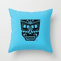 tiki Throw Pillows featuring Tiki by Nick Salmon