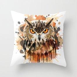 Stylized owl portrait Throw Pillow