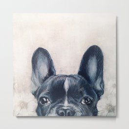Hand painting French Bulldog Dog illustration original painting print Metal Print
