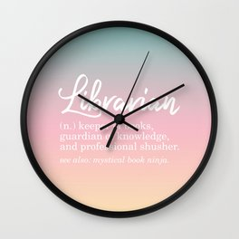Librarian Funny - Pastel Rainbow Wall Clock