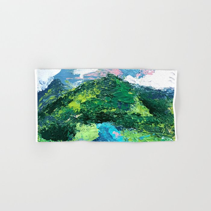 Gunnison: a vibrant acrylic mountain landscape in greens, blues, and a splash of pink Hand & Bath Towel