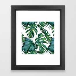 Classic Palm Leaves Tropical Jungle Green Framed Art Print