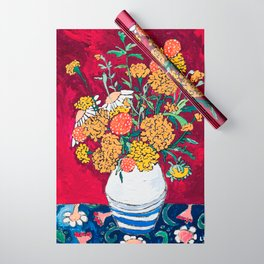 Marigold, Daisy and Wildflower Bouquet Fall Floral Still Life Painting on Eggplant Purple Wrapping Paper