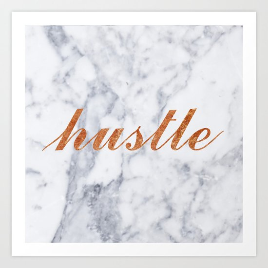 Hustle Marble Brass Copper Bronze Art Print
