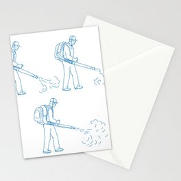 Gardener Leaf Blower Drawing Stationery Cards