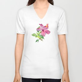 Tropical Pink Hibiscus Watercolor Unisex V-Neck