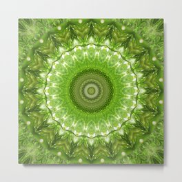 Mandala green meadow Metal Print