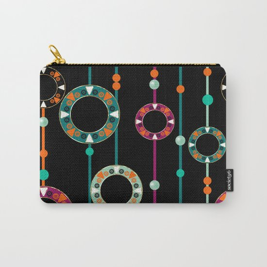Abstract folk african pattern. Multi-colored circles rings. Carry-All Pouch