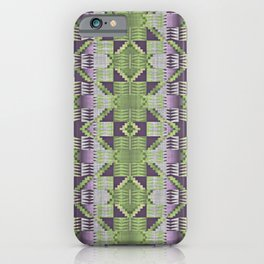 Violet Purple Pink Lime Green Native American Indian Mosaic Pattern iPhone Case